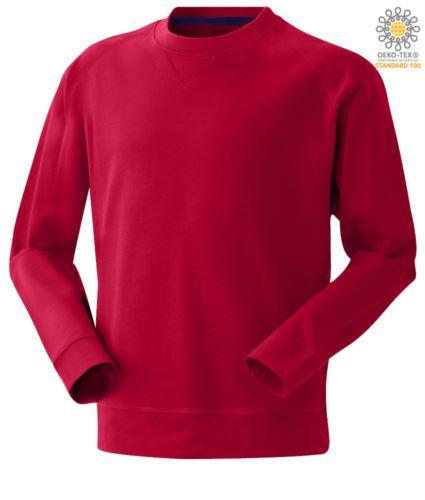 Felpa colore rosso da uomo a girocollo poliestere e cotone
