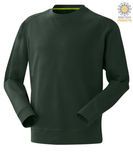 Felpa da uomo colore verde a girocollo, abbigliamento da lavoro