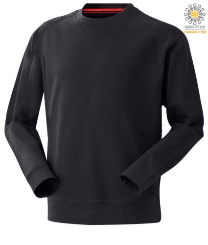felpa da lavoro blu girocollo modello da uomo in poliestere e cotone