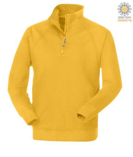 Felpa gialla da lavoro modello con zip corta da uomo