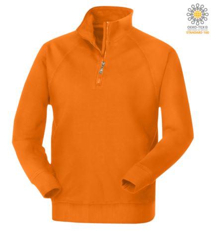 Felpa da lavoro a zip corta modello da uomo colore arancione