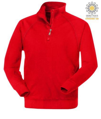 felpa invernale da lavoro a zip corta colore rosso