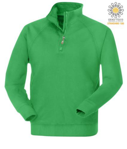 Felpa da lavoro colore Jelly green modello da uomo con zip corta