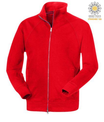felpa da lavoro modello uomo a manica lunga zip lunga colore rosso