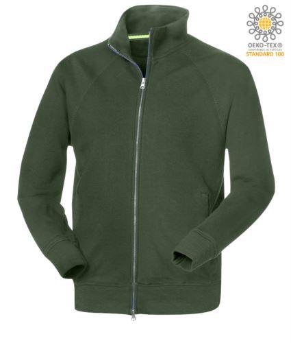 Felpa da lavoro modello uomo a manica lunga zip lunga colore verde