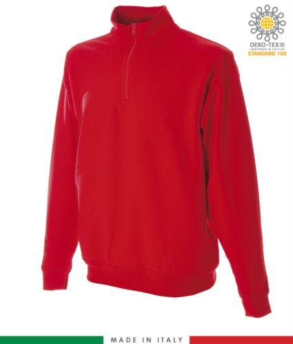 Felpa zip corta, collo a lupetto in costina, polsini e fondo maglia in costina, made in italy, colore rosso