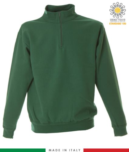 Felpa zip corta, collo a lupetto in costina, polsini e fondo maglia in costina, made in italy, colore verde