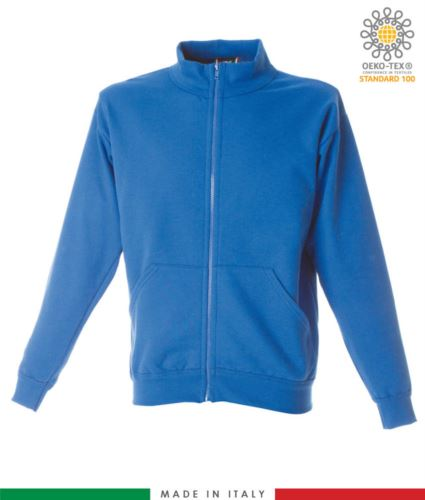 Felpa zip lunga, collo a lupetto in costina, due tasche a marsupio, made in italy, colore azzurro