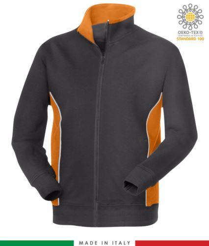 felpa da lavoro zip lunga colore grigio con fascia arancione made in Italy