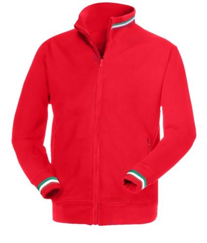 felpa da lavoro a zip lunga colore rosso con inserti tricolore