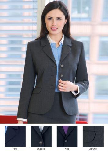 Giacca elegante da donna a taglio sartoriale in poliestere e lana.