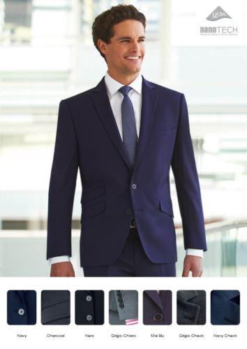 Giacca da divisa elegante con chiusura a due bottoni, tessuto poliestere e lana, con trattamento antimacchia. Vendita solo all'ingrosso. Ottieni un preventivo gratuito.