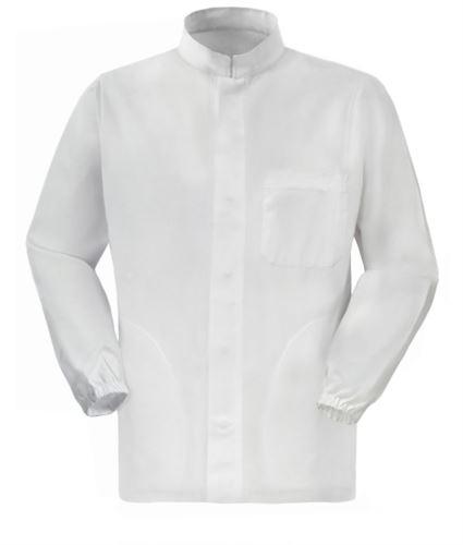 Giacca da lavoro per uso alimentare a zip lunga colore bianco 100% cotone massaua