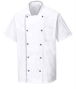 Giacca chef ventilata, maniche corte, tessuto anti-crespo, colore bianco