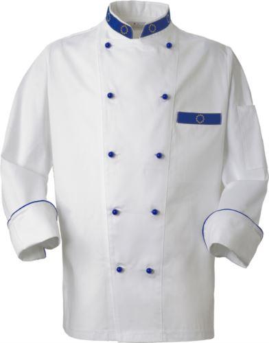 Giacca cuoco, chiusura anteriore bottoni doppio petto, taschino lato sinistro, manica a tre quarti, colore bianco