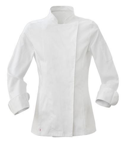 Giacca cuoco donna, chiusura con bottoni automatici, vestibilità slim fit, colore bianco