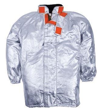 Giacca da avvicinamento foderata, maniche raglan, polsini a elastico, chiusura con velcro, colore argento, certificata EN 11612:2009