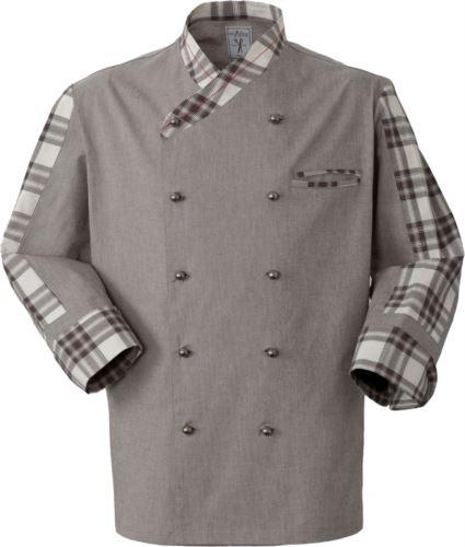 Giacca da cuoco, chiusura anteriore bottoni doppio petto, taschino lato sinistro, manica a tre quarti, colore caffè