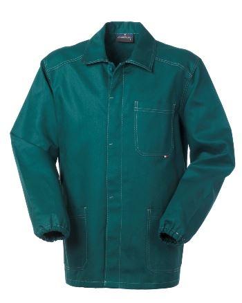 Giacca da lavoro colore verde con bottoni coperti 100% cotone irrestringibile