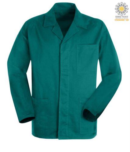 giacca da lavoro colore verde in cotone massaua sanforizzato e bottoni coperti