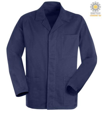 Giacca da lavoro colore blu in fustagno con bottoni coperti