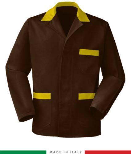 giacca da lavoro marrone con inserti gialli made in Italy, 100% cotone massaua e due tasche
