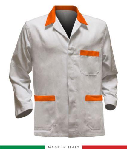 giacca da lavoro bianco con inserti arancioni, tessuto poliestere e cotone