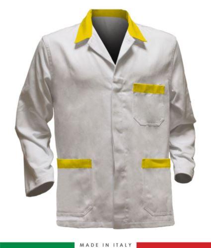 giacca da lavoro bianchi con inserti gialli, tessuto poliestere e cotone
