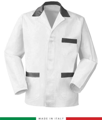 giacca da lavoro bianca con inserti grigi, tessuto poliestere e cotone