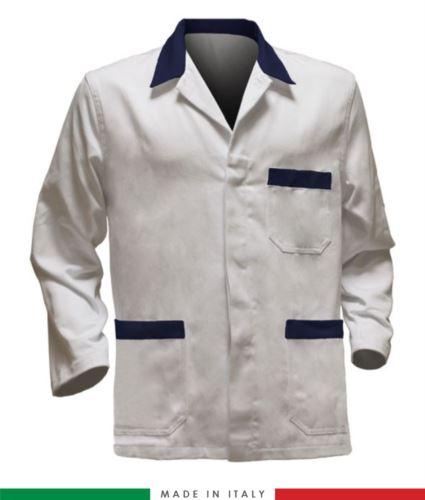 giacca da lavoro bianchi con inserti blu, tessuto poliestere e cotone