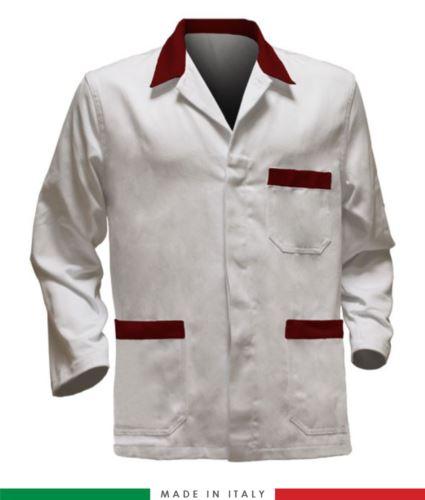 giacca da lavoro bianca con inserti rossi, tessuto poliestere e cotone