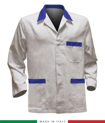 giacca da lavoro bianchi con inserti azzurri, tessuto poliestere e cotone
