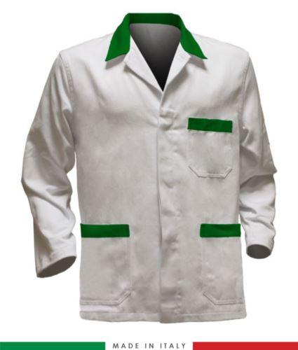 giacca da lavoro bianca con inserti verdi, tessuto poliestere e cotone