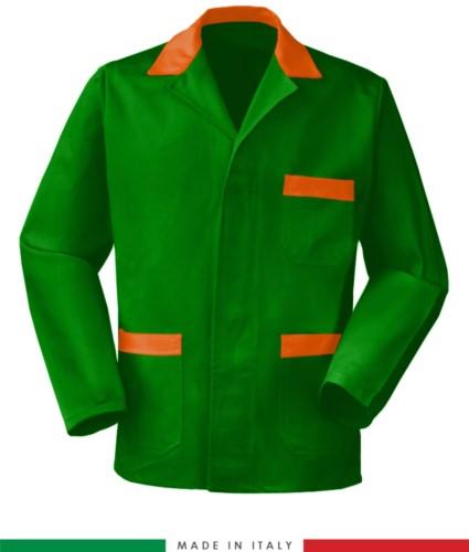 giacca da lavoro verde con inserti arancioni, tessuto Poliestere e cotone