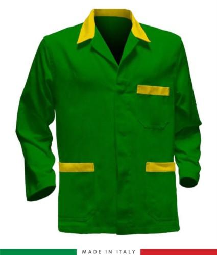 giacca da lavoro verde con inserti gialli, tessuto poliestere e cotone