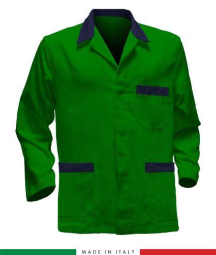 giacca da lavoro verde con inserti blu, tessuto poliestere e cotone
