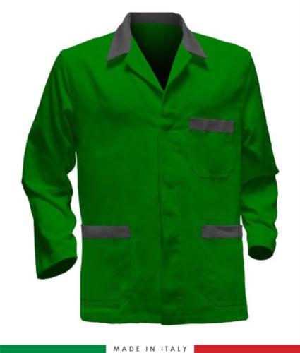 giacca da lavoro verdi con inserti grigi, made in Italy, 100% cotone massaua con due tasche