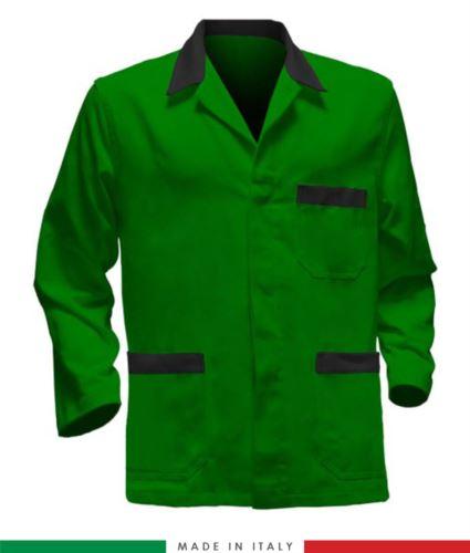 giacca da lavoro verdi con inserti neri, made in Italy, 100% cotone massaua con due tasche