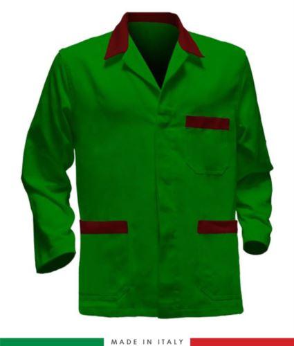 giacca da lavoro verde con inserti rossi, made in Italy, tessuto poliestere e cotone con due tasche