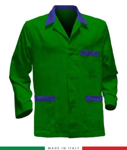giacca da lavoro verde con inserti azzurri made in Italy, 100% cotone massaua e due tasche