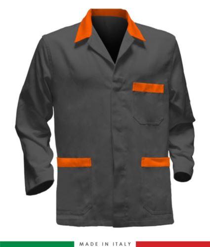 giacca da lavoro grigia con inserti arancioni, made in Italy, 100% cotone massaua con due tasche