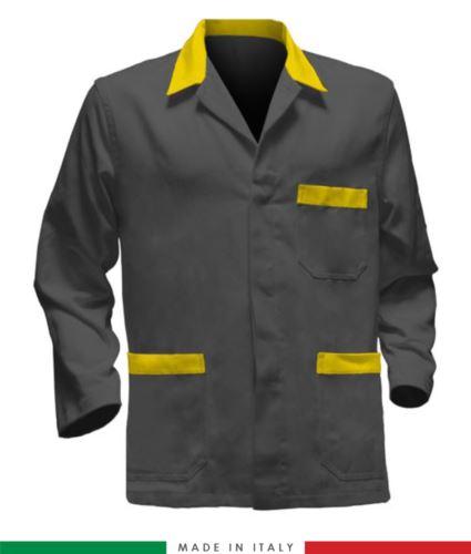 giacca da lavoro grigio con inserti gialli, made in Italy, 100% cotone massaua con due tasche