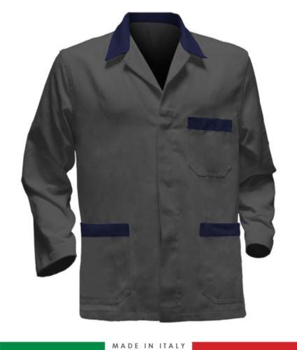 giacca da lavoro grigia con inserti blu, made in Italy, 100% cotone massaua con due tasche