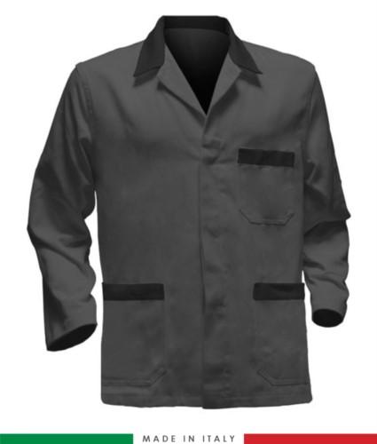 giacca da lavoro grigia con inserti neri, made in Italy, 100% cotone massaua con due tasche