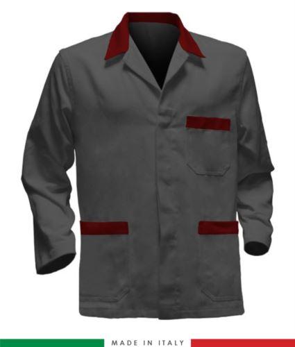 giacca da lavoro grigia con inserti rossi, made in Italy, 100% cotone massaua con due tasche