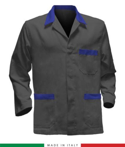 giacca da lavoro grigio con inserti azzurri, made in Italy, 100% cotone massaua con due tasche