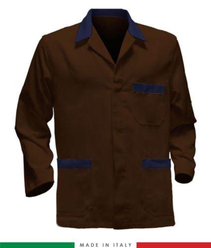 giacca da lavoro marrone con bande blu made in Italy, 100% cotone massaua e due tasche