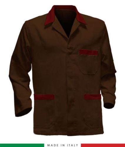 giacca da lavoro marrone con inserti rossi made in Italy, 100% cotone massaua e due tasche