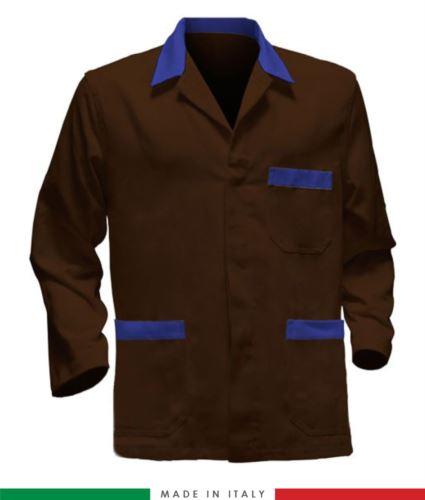 giacca da lavoro marrone con bande azzurre made in Italy, 100% cotone massaua e due tasche