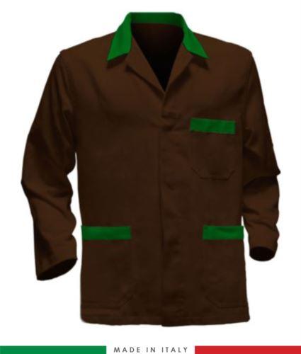 giacca da lavoro marrone con inserti verdi made in Italy, 100% cotone massaua e due tasche